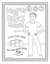 welcome to dance class printable coloring page for boys