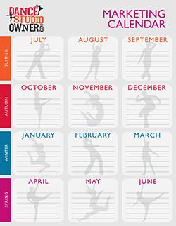 dance studio owner marketing calendar template
