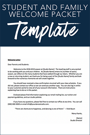 Student and Family Welcome Packet Template
