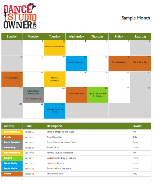 Marketing Calendar Template - Public relations calendar template